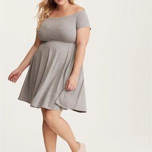 Torrid size 3X midi length gray flare dress.